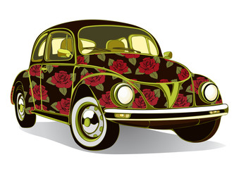 Vintage car decorated with roses. Retro floral cartoon cars  airbrushing. Vector isolated illustration