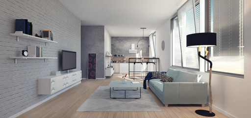 Apartment, living room, home 3d Render