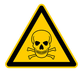 wso256 WarnSchildOrange - english warning sign: human skull and crossbones - German Warnschild: Menschlicher Schädel und Knochen - XXL g4735