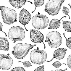 Vector hand drawn apple and pear seamless pattern. Summer fruits. Engraved style. Background. Detailed food drawing. Great for summer decor or detox program.