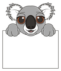cartoon, gray, animal, bear, koala, australia, zoo, nature, wild, marsupial, toy, face, snout, paws, peek up, plate, clean, hold