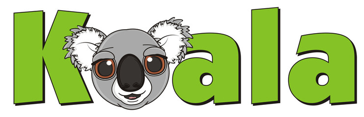 word, name, inscription, cartoon, gray, animal, bear, koala, australia, zoo, nature, wild, marsupial, toy, face, peek up, snout