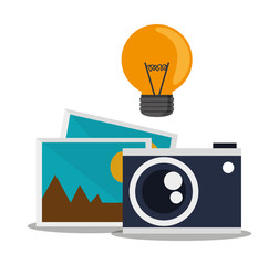 Light bulb camera and picture icon. Social media multimedia communcation and digital marketing theme. Colorful design. Vector illustration