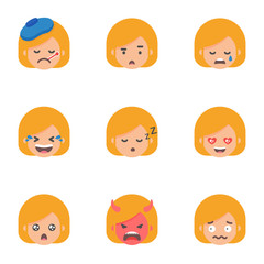 Set of emoji, stickers. Female characters