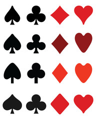 Set of symbols on playing cards, vector