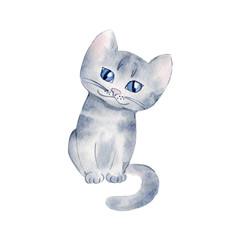 watercolor cartoon grey kitten cat with blue eyes illustration on white