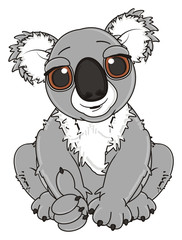 show, cool, gesture, class, cartoon, gray, animal, bear, koala, australia, zoo, nature, wild, marsupial, toy, sit