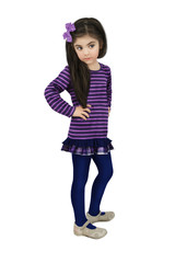Little girl with long hair in a striped purple blouse with a bow on her head