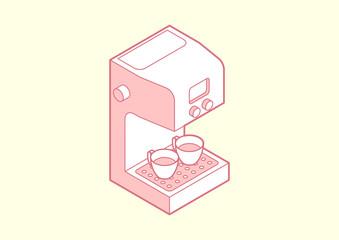 coffee maker isometric vector
