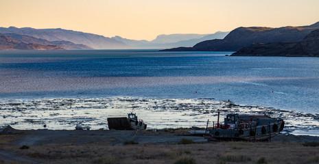 Sundown at the harbor of Kangerlussuaq in Greenland