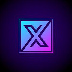 Letter X logo,Square shape symbol,Digital,Technology,Media