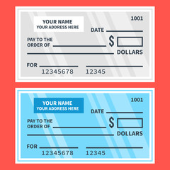 Vector bank checks set. Blank cheques. Flat design illustration
