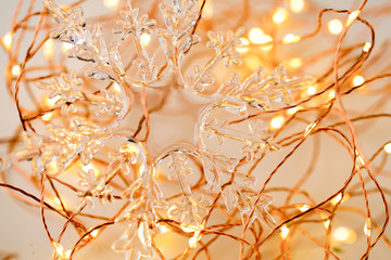 Christmas gold stars decoration on abstract background.