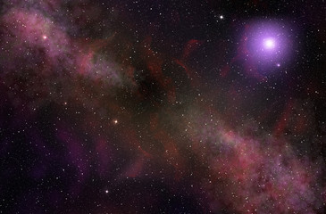 cosmic clouds and glowing star in space