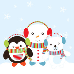 Christmas illustration with cute penguin, snowman, and polar bear suitable for Xmas greeting card, wallpaper, and postcard