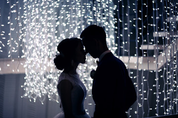 silhouette of lovers the newlywed against garlands