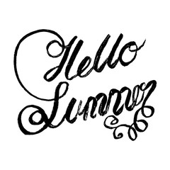 hello summer calligraphy hand lettering. quote vector