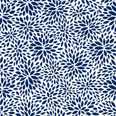 seamless abstract navy leaf pattern, foliage vector background