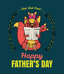 Father's Day card with fox character family.