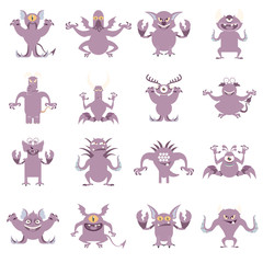Set of flat moster icons4