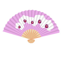 Traditional Folding Hand Fan with a flower orchidea. Vector illustration.