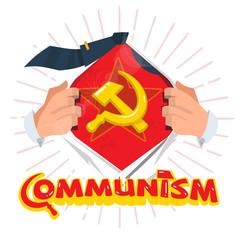 man open shirt to show socialist symbols with redstar. communism