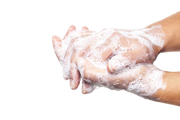 Washing hands isolated on white