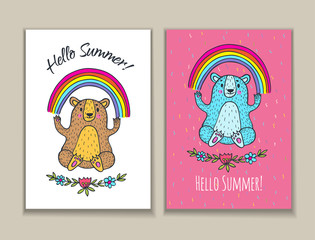 Hello Summer card set with bear character and rainbow.