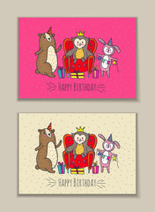 Happy birthday card set with owl, bear and rabbit characters.