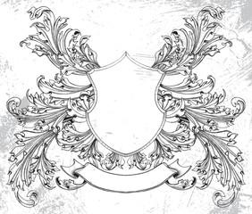 Retro pattern, vintage coat of arms, vector design art