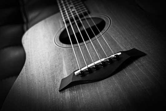 acoustic guitar, bw filter for music background