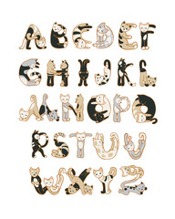 Alphabet letters of cats