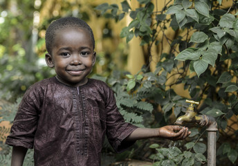 Happy African Boy Finally Gets Access to Clean Healthy Water