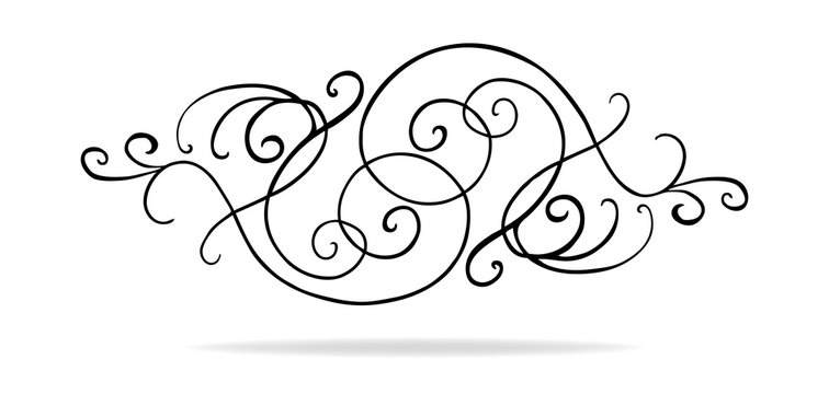 vector of curls and swirls in symmetrical pattern, wedding design or Victorian accent, pretty line filigree paragraph or chapter divider