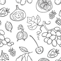 Monochrome vector seamless pattern with fruits. Abstract healthy
