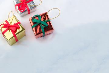 Gift box decorations on snow