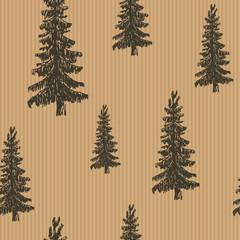 Pine tree hand drawn sketch retro, vintage Seamless Pattern. Vector Illustration.