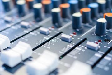 Mixing console. Sound mixer.