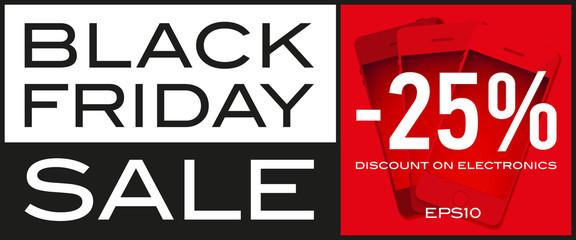 Black Friday Sale, -25%, discount on electronics, seasonal sale, vector design