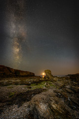 Moon Set with Milky Way over Porth Y Post.