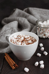 The cap of beverage with marshmallow