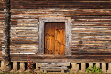 front porch, door of old rustic log house or cabin