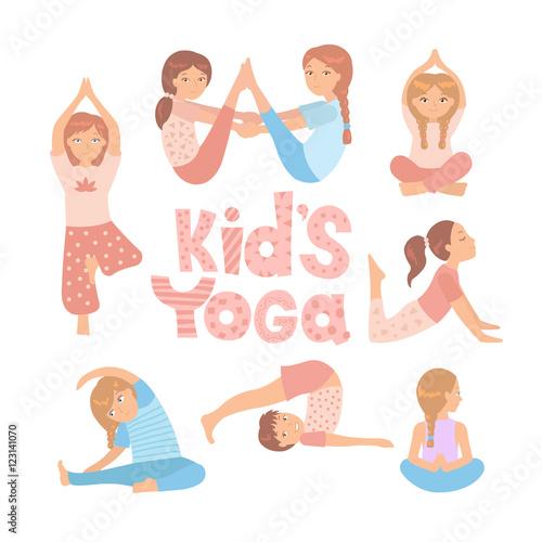 Cute kids doing yoga exercises  Yoga kids set  Gymnastics