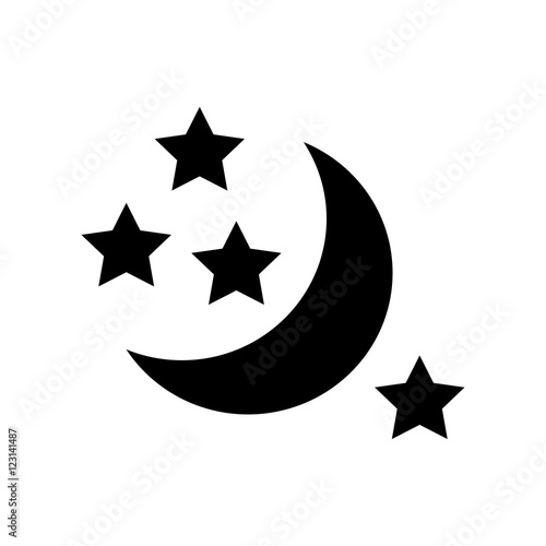 half moon and stars icon. simple illustration of moon vector icon