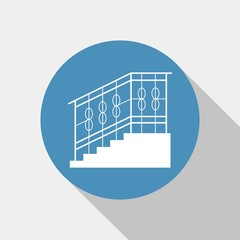 staircase with handrails vector icon
