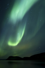 Beautiful northern light aurora borealis in the night sky of Iceland
