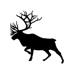 northern deer vector illustration silhouette black