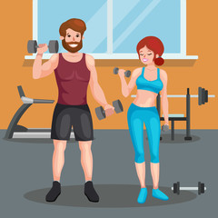 man and woman doing fitness exercises.fitness equipment, Fitness gym,Healthy lifestyle,