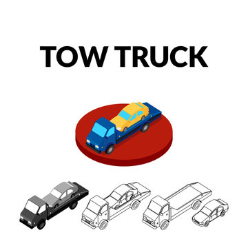 vector illustration. Set of icons of the tow truck of different styles - contour, monochrome, colorful. Isometric, 3D.