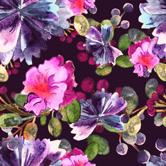 Watercolor floral pattern. Seamless with purple and pink bouquet on violet background. Vector
